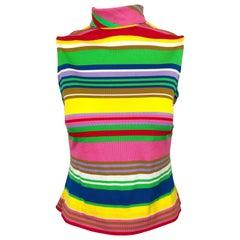 Amazing 1970s I Magnin Rainbow Striped High Neck Vintage 70s Sleeveless Top