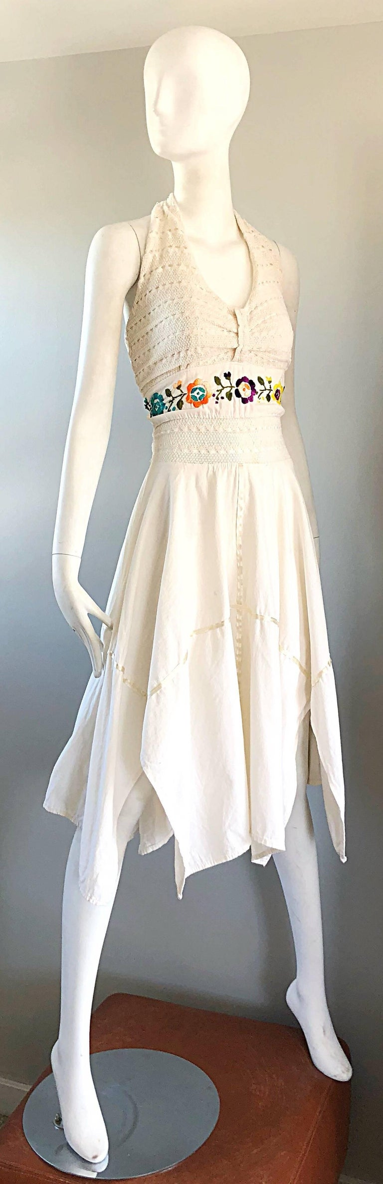 Amazing 1970s Ivory Cotton Embroidered Handkerchief Hem Vintage 70s Halter Dress For Sale 5