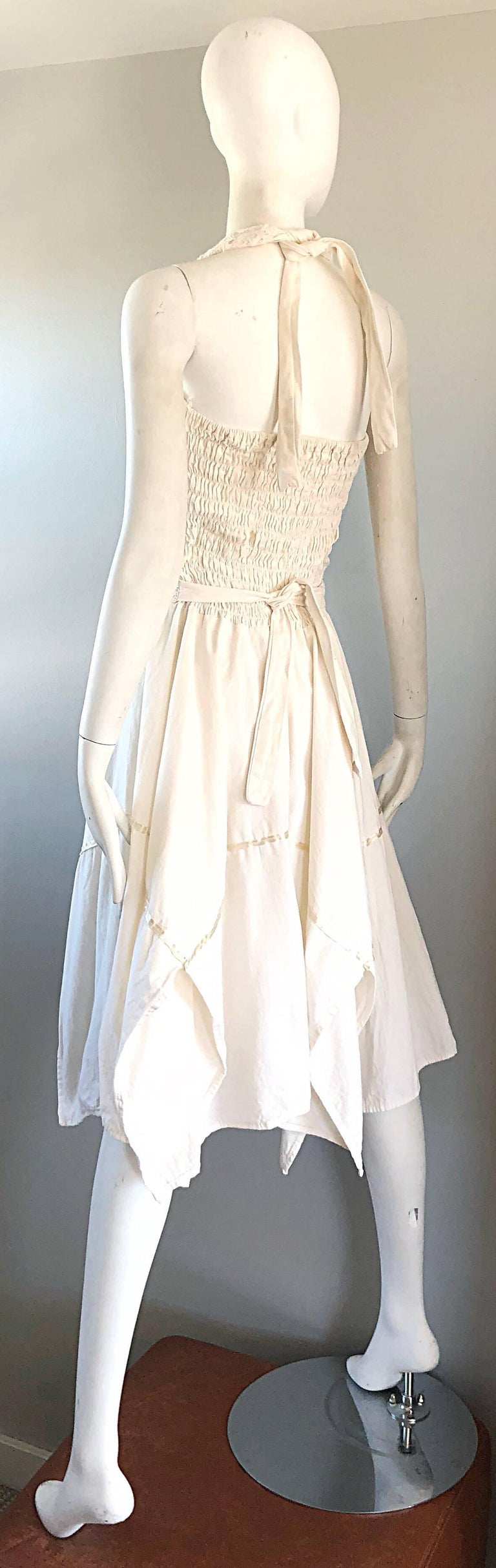 Amazing 1970s Ivory Cotton Embroidered Handkerchief Hem Vintage 70s Halter Dress For Sale 6