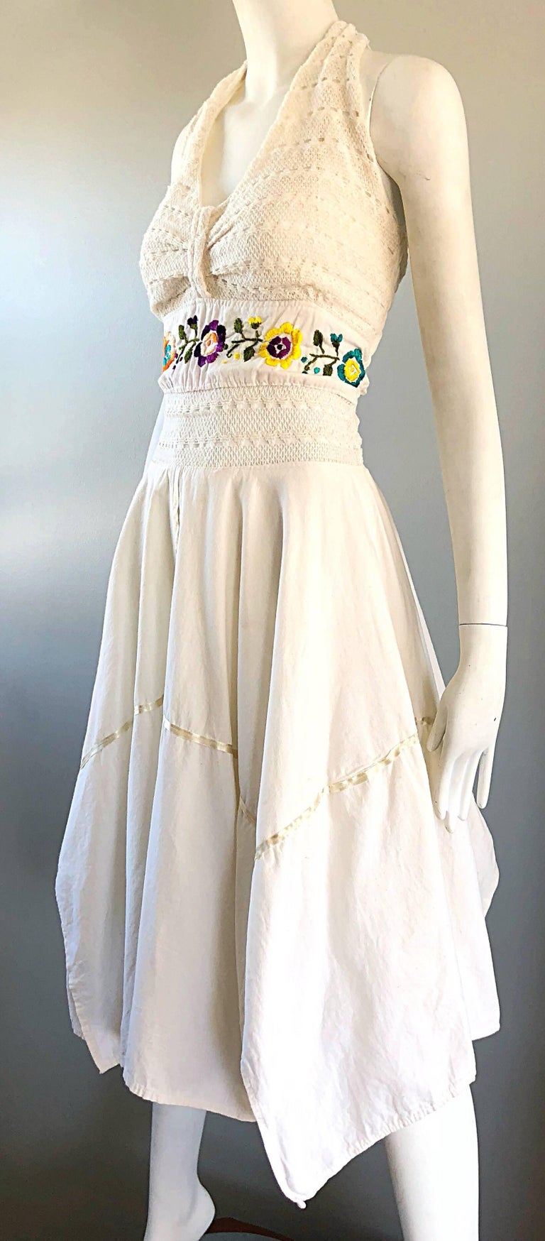 Amazing 1970s Ivory Cotton Embroidered Handkerchief Hem Vintage 70s Halter Dress For Sale 7