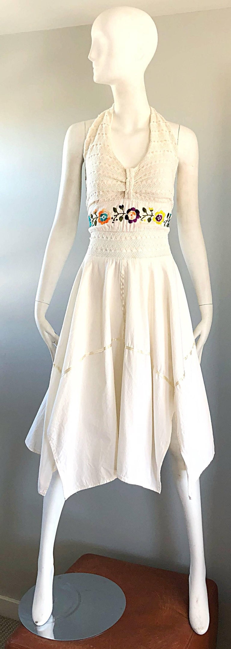 Amazing 1970s Ivory Cotton Embroidered Handkerchief Hem Vintage 70s Halter Dress For Sale 8
