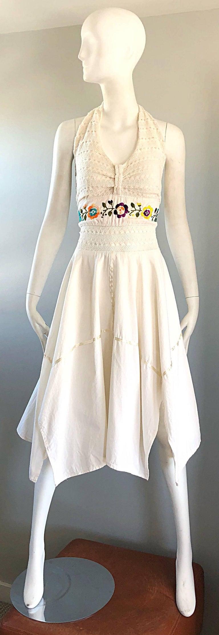 Beige Amazing 1970s Ivory Cotton Embroidered Handkerchief Hem Vintage 70s Halter Dress