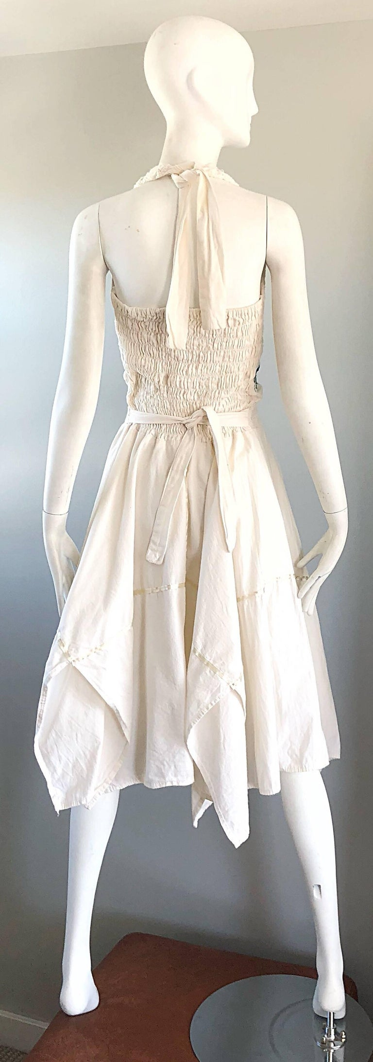 Amazing 1970s Ivory Cotton Embroidered Handkerchief Hem Vintage 70s Halter Dress In Excellent Condition For Sale In Chicago, IL