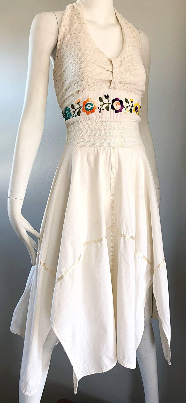 Women's Amazing 1970s Ivory Cotton Embroidered Handkerchief Hem Vintage 70s Halter Dress For Sale