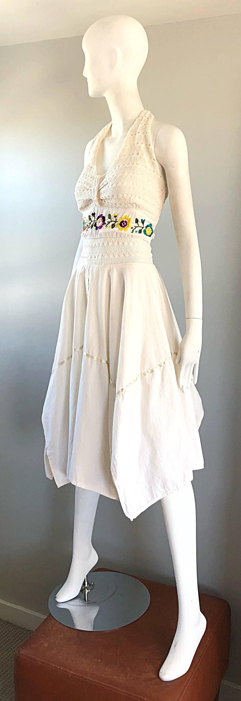 Amazing 1970s Ivory Cotton Embroidered Handkerchief Hem Vintage 70s Halter Dress For Sale 1