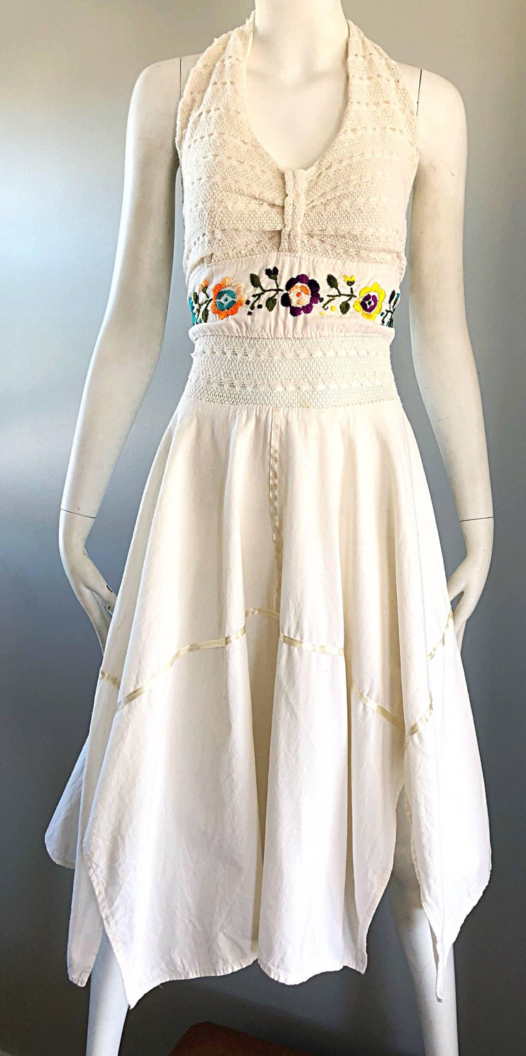 Amazing 1970s Ivory Cotton Embroidered Handkerchief Hem Vintage 70s Halter Dress For Sale 2
