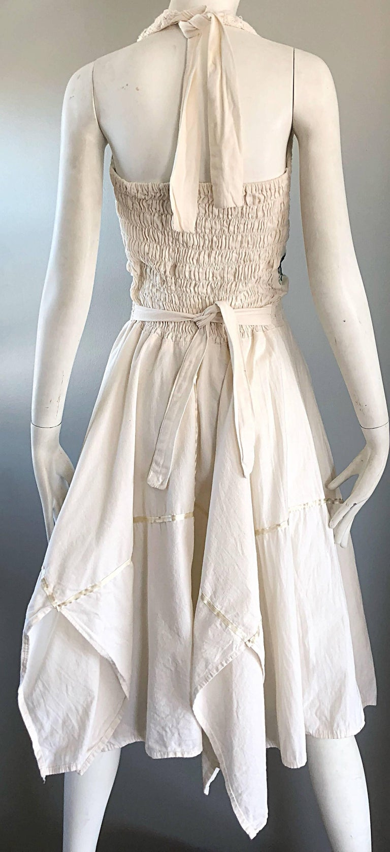 Amazing 1970s Ivory Cotton Embroidered Handkerchief Hem Vintage 70s Halter Dress For Sale 4