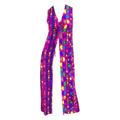 Amazing 1970s Joseph Magnin Vibrant Colorful Abstract Mosaic Vest 70s Maxi Dress