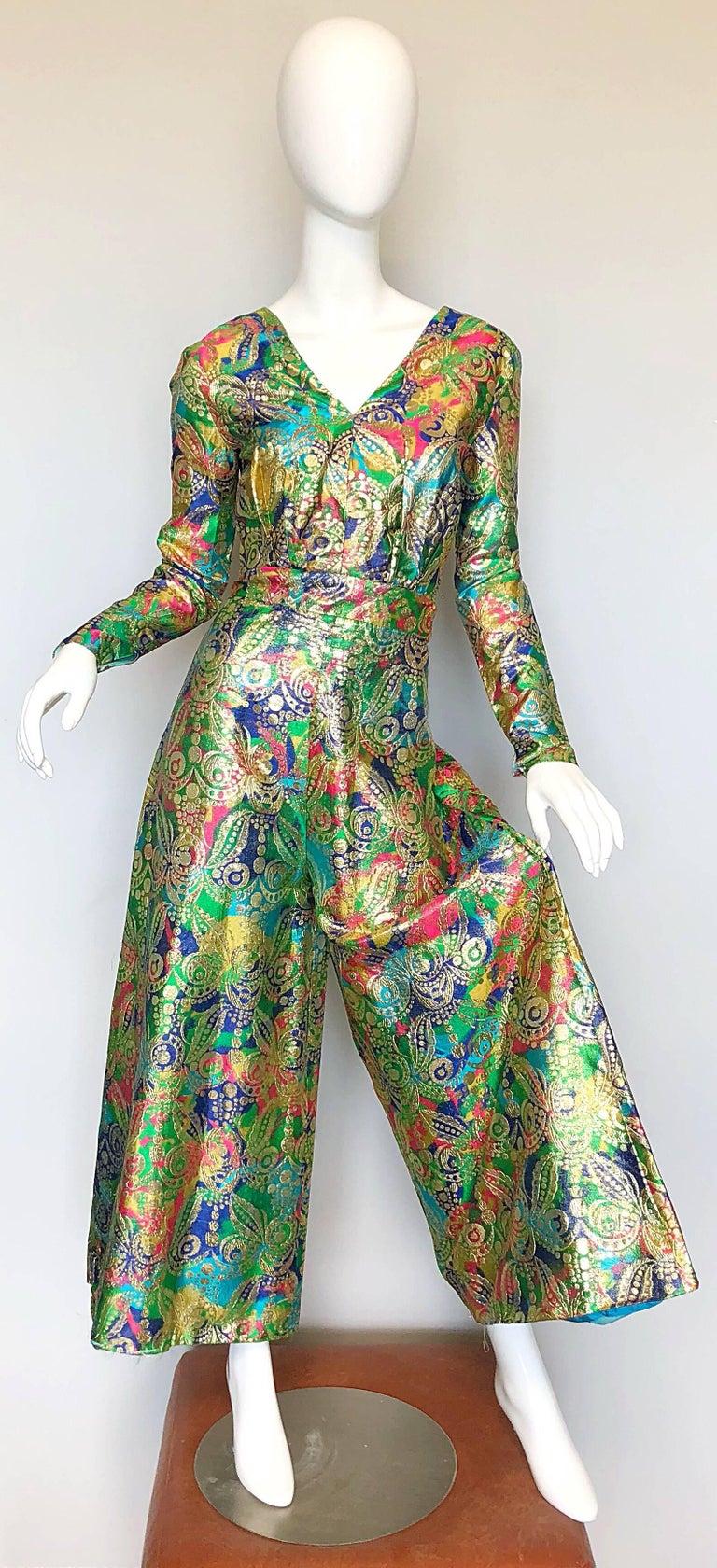 Amazing 1970s Long Sleeve Psychedelic Paisley 70s Wide Leg Palazzo Jumpsuit