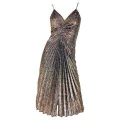 Amazing 1970s Metallic Disco Studio 54 Pleated Slinky Colorful Vintage 70s Dress