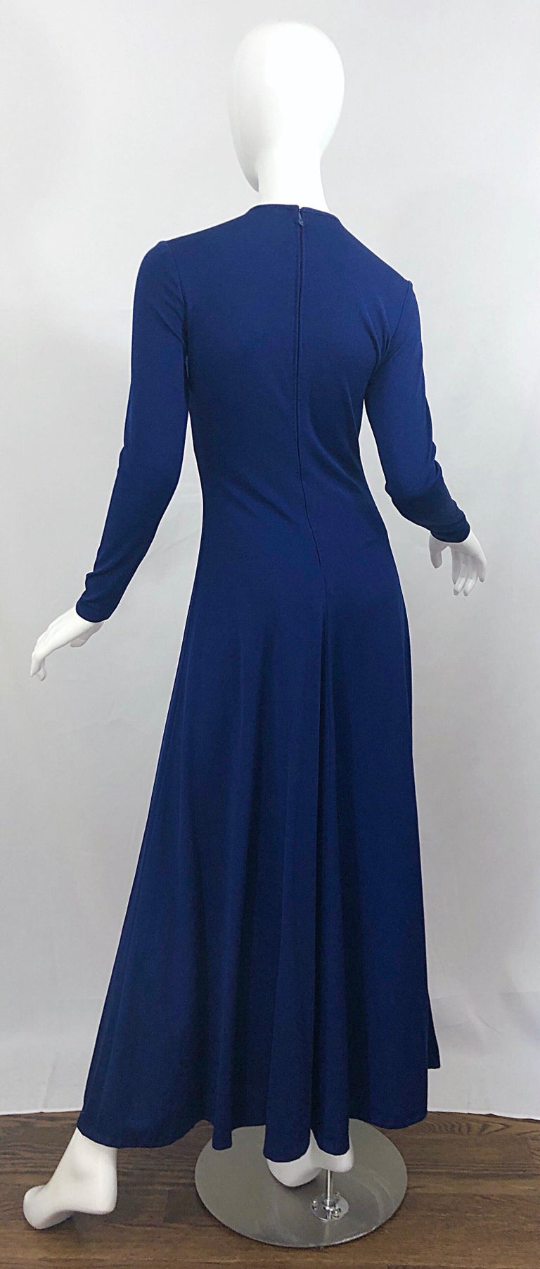 Women's Amazing 1970s Nautical Navy Blue + Gold Anchor Patch Vintage Jersey maxi Dress For Sale