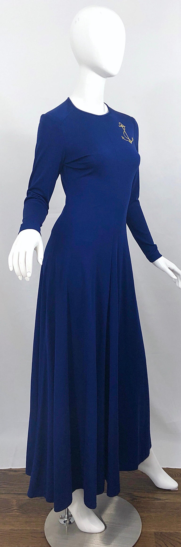 Amazing 1970s Nautical Navy Blue + Gold Anchor Patch Vintage Jersey maxi Dress For Sale 1