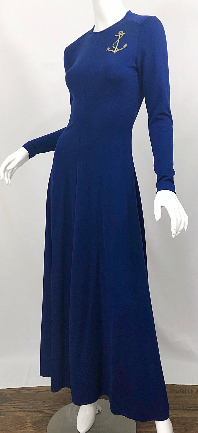 Amazing 1970s Nautical Navy Blue + Gold Anchor Patch Vintage Jersey maxi Dress For Sale 4