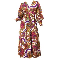 Amazing 1970s Regal Paisley Boho Chic Colorful Vintage 70s Silk Gown Maxi Dress
