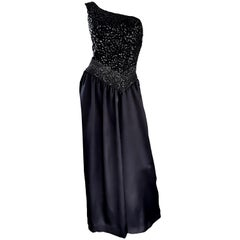 Amazing 1970s Vintage One Shoulder Black Sequin Silk 70s Evening Dress Gown