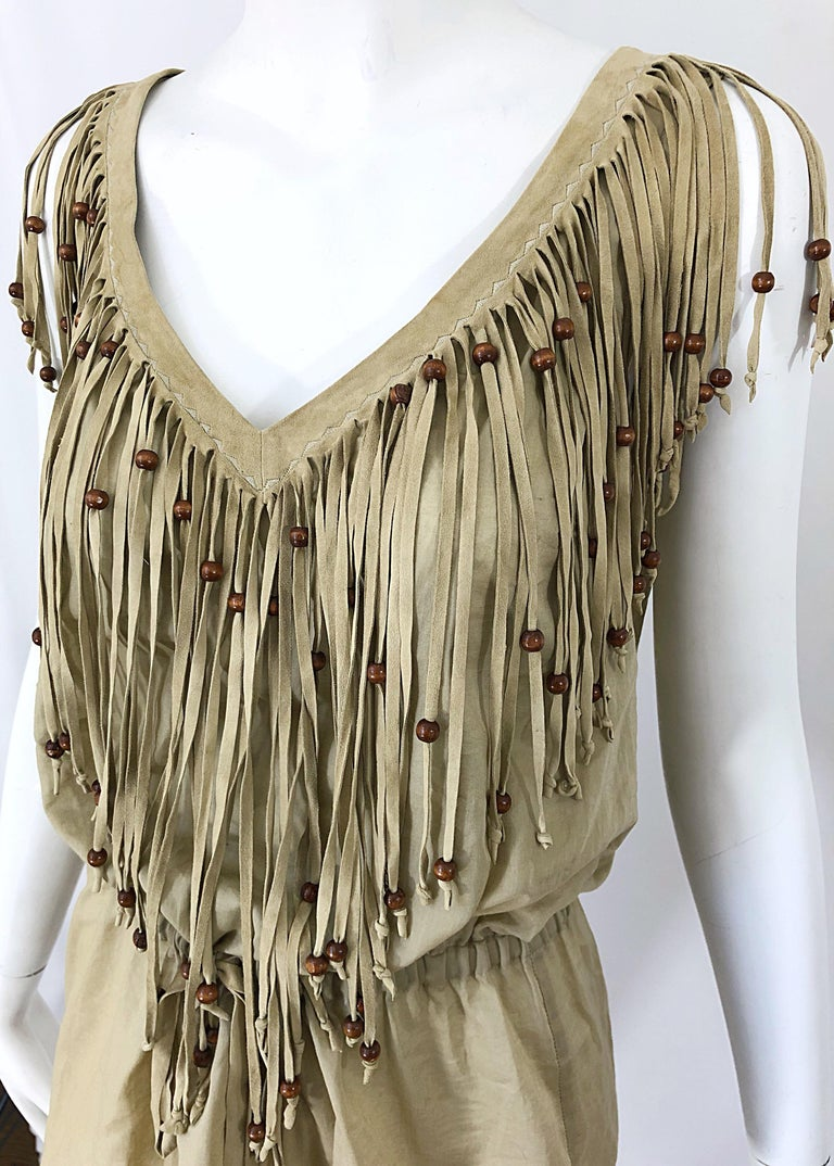 Amazing 1990s Dolce & Gabbana Khaki / Brown Cotton and Suede Beaded Boho Blouse For Sale 6