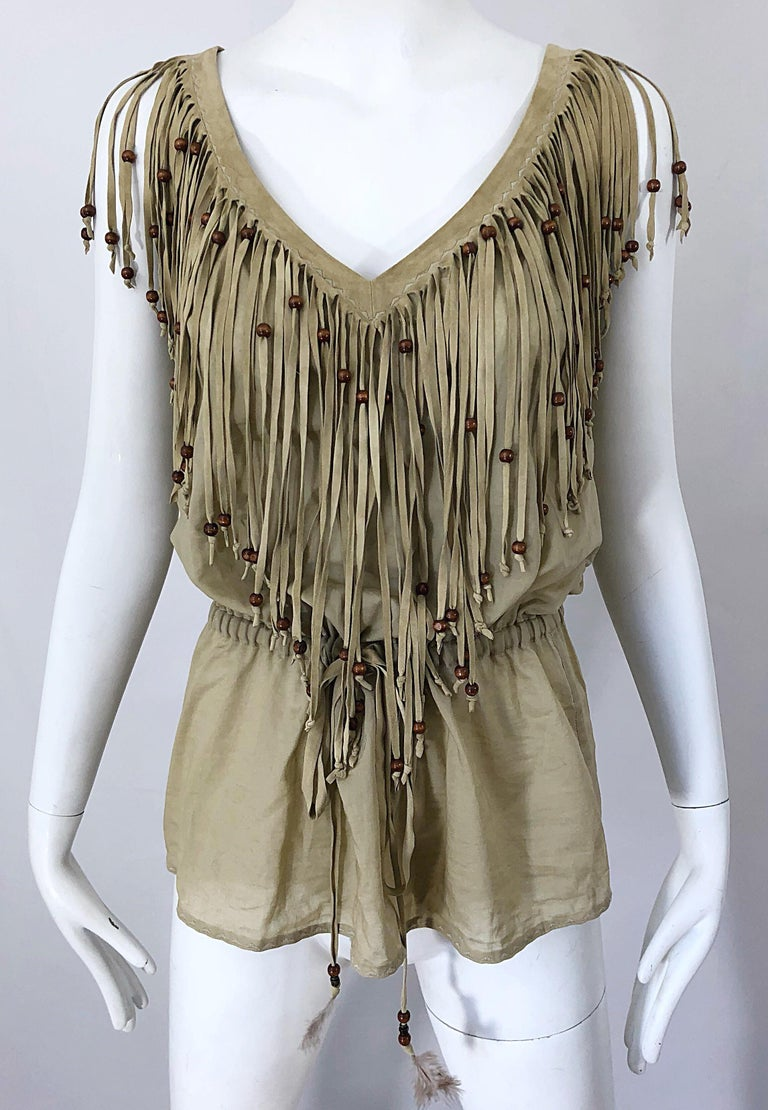 Amazing 1990s Dolce & Gabbana Khaki / Brown Cotton and Suede Beaded Boho Blouse For Sale 7