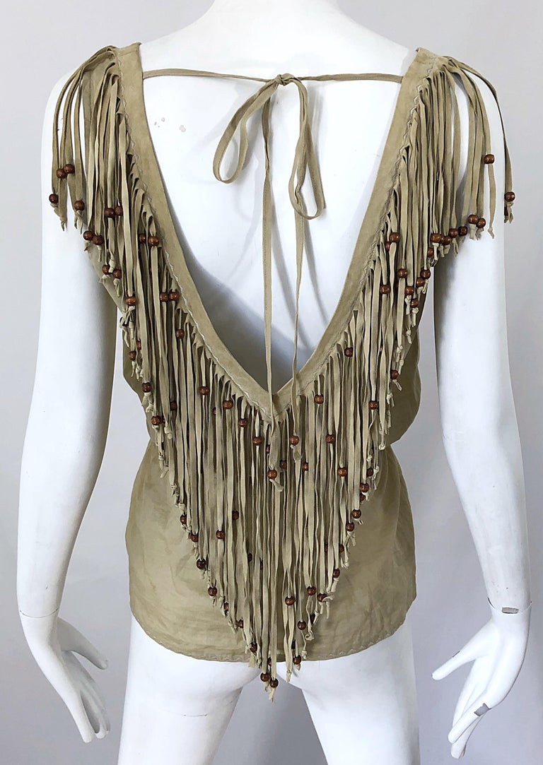 Amazing 1990s Dolce & Gabbana Khaki / Brown Cotton and Suede Beaded Boho Blouse For Sale 8