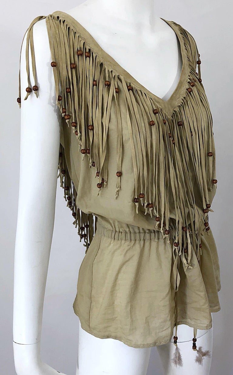 Amazing 1990s Dolce & Gabbana Khaki / Brown Cotton and Suede Beaded Boho Blouse For Sale 9