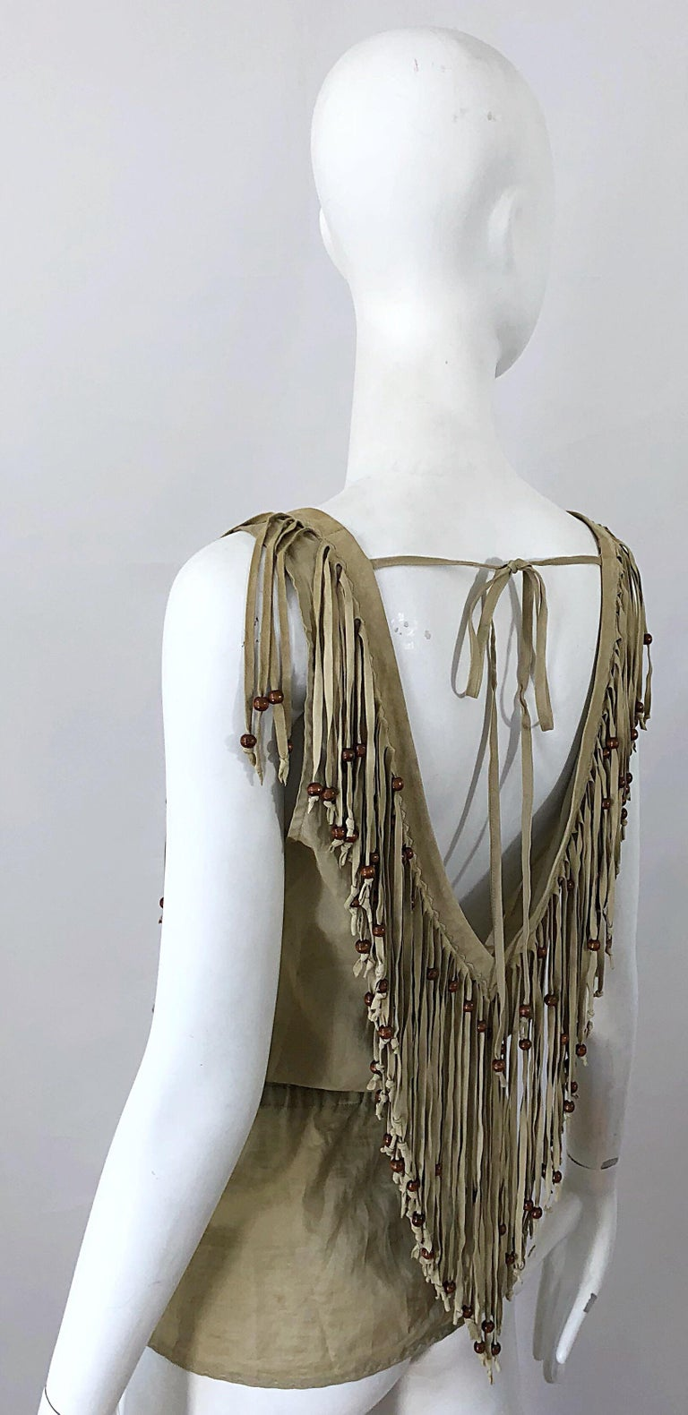 Amazing 1990s Dolce & Gabbana Khaki / Brown Cotton and Suede Beaded Boho Blouse For Sale 10
