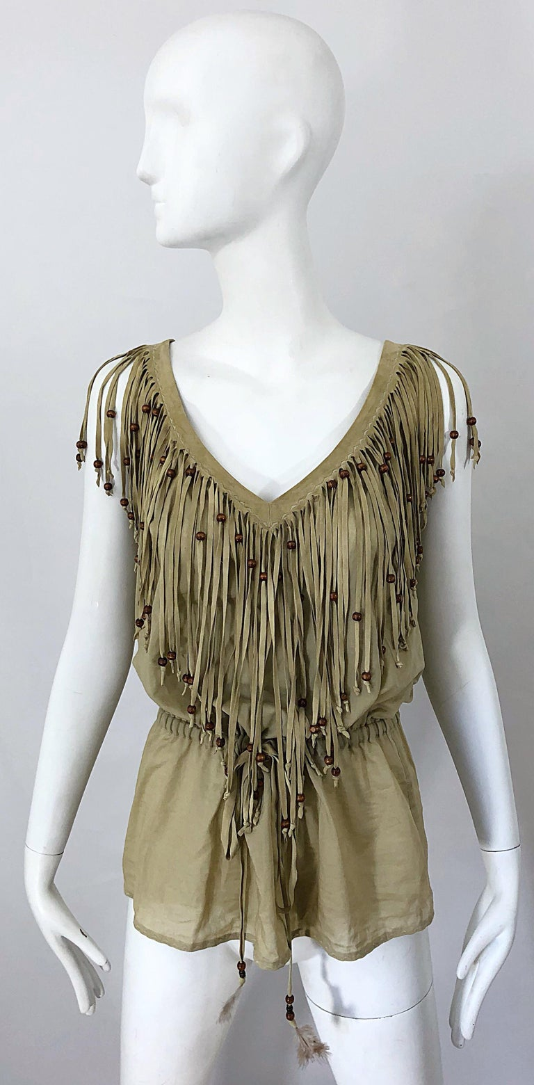 Amazing 1990s Dolce & Gabbana Khaki / Brown Cotton and Suede Beaded Boho Blouse For Sale 11