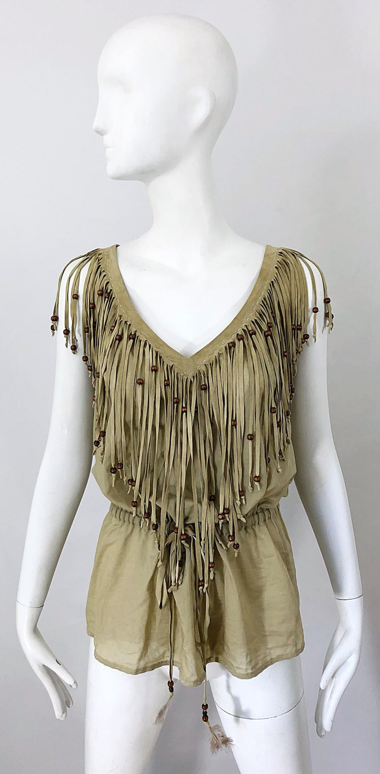 Amazing late 90s vintage DOLCE & GABBANA khaki / brown cotton and suede beaded fringe boho shirt ! Features a flattering drawstring waist that can adjust to fit an array of sizes. Lightweight cotton with suede leather edge along the front and back