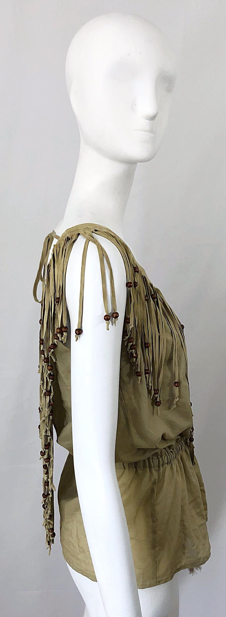 Women's Amazing 1990s Dolce & Gabbana Khaki / Brown Cotton and Suede Beaded Boho Blouse For Sale