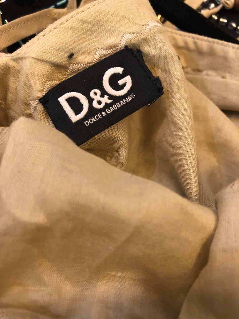 Amazing 1990s Dolce & Gabbana Khaki / Brown Cotton and Suede Beaded Boho Blouse For Sale 1