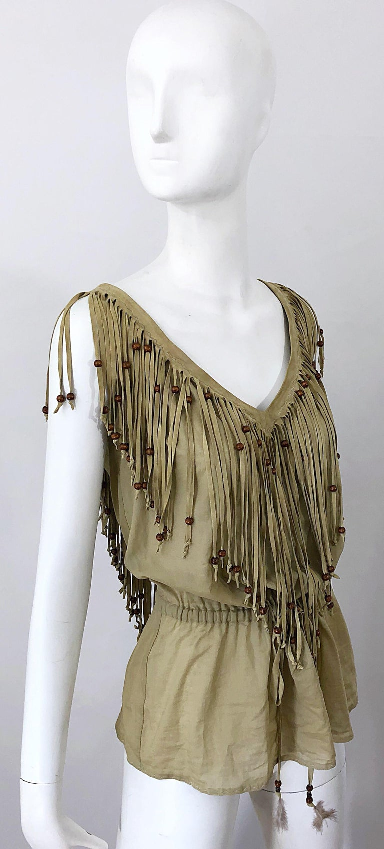 Amazing 1990s Dolce & Gabbana Khaki / Brown Cotton and Suede Beaded Boho Blouse For Sale 2