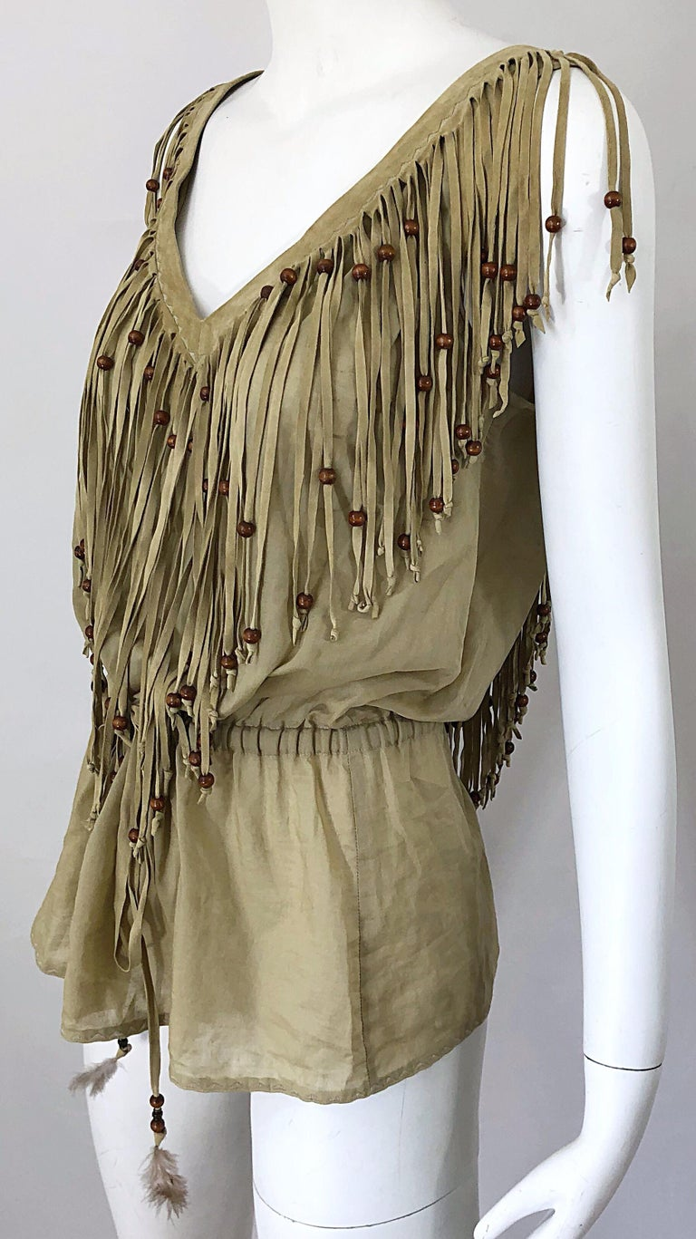 Amazing 1990s Dolce & Gabbana Khaki / Brown Cotton and Suede Beaded Boho Blouse For Sale 3