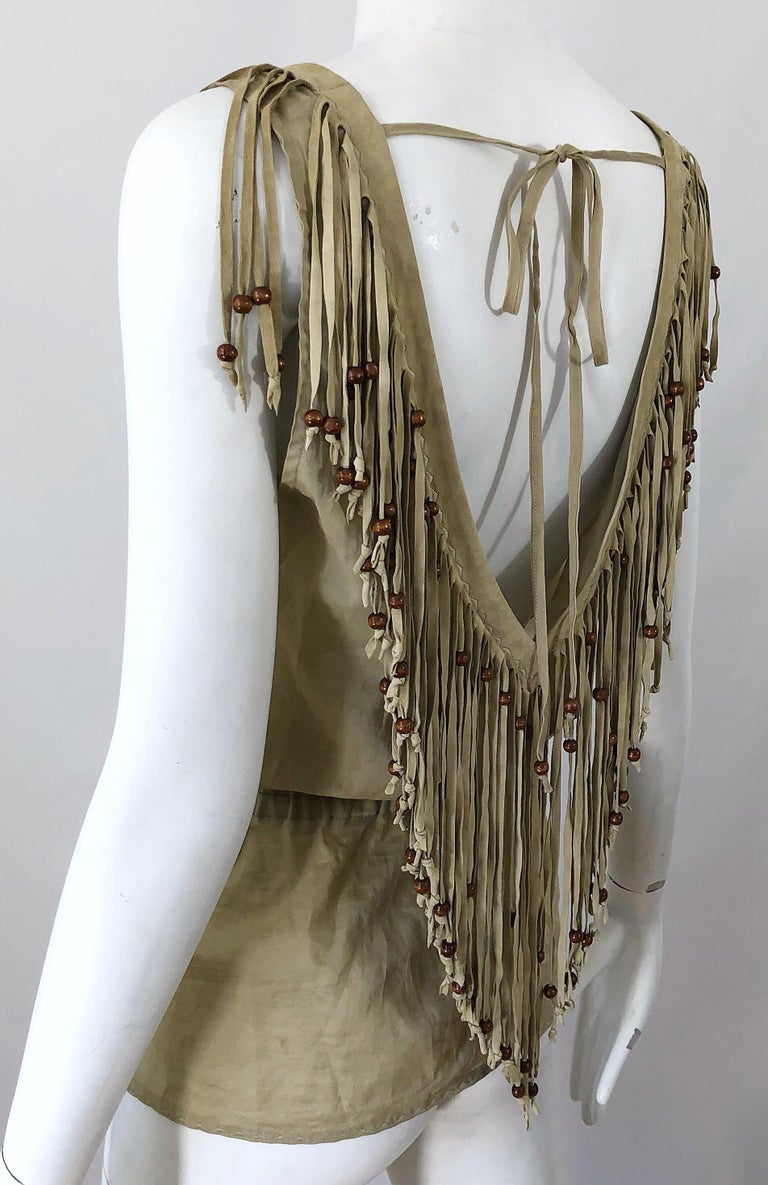 Amazing 1990s Dolce & Gabbana Khaki / Brown Cotton and Suede Beaded Boho Blouse For Sale 4