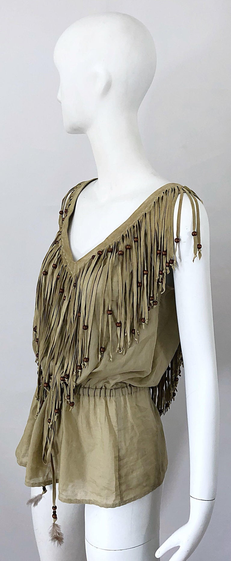 Amazing 1990s Dolce & Gabbana Khaki / Brown Cotton and Suede Beaded Boho Blouse For Sale 5