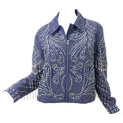 Amazing 1990s Fully Beaded + Sequin + Pearl Indigo Blue Vintage 90s Jacket