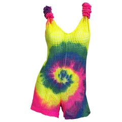 Amazing 1990s Tie Dyed Bright Colorful One Piece Fishnet Cut Out Vintage Romper