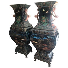 Amazing 19th Century Large Pair of Black Asian Lacquer Vases on Stand