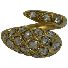 Amazing 2.5 Carat VS Rose Cut Diamond and 18 Carat Gold Snake Ring