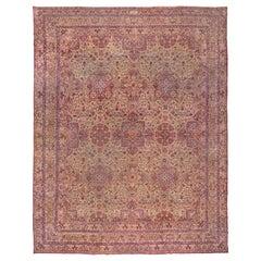 Amazing Antique Persian Lavar Kerman Carpet, Mansion Carpet, circa 1900s