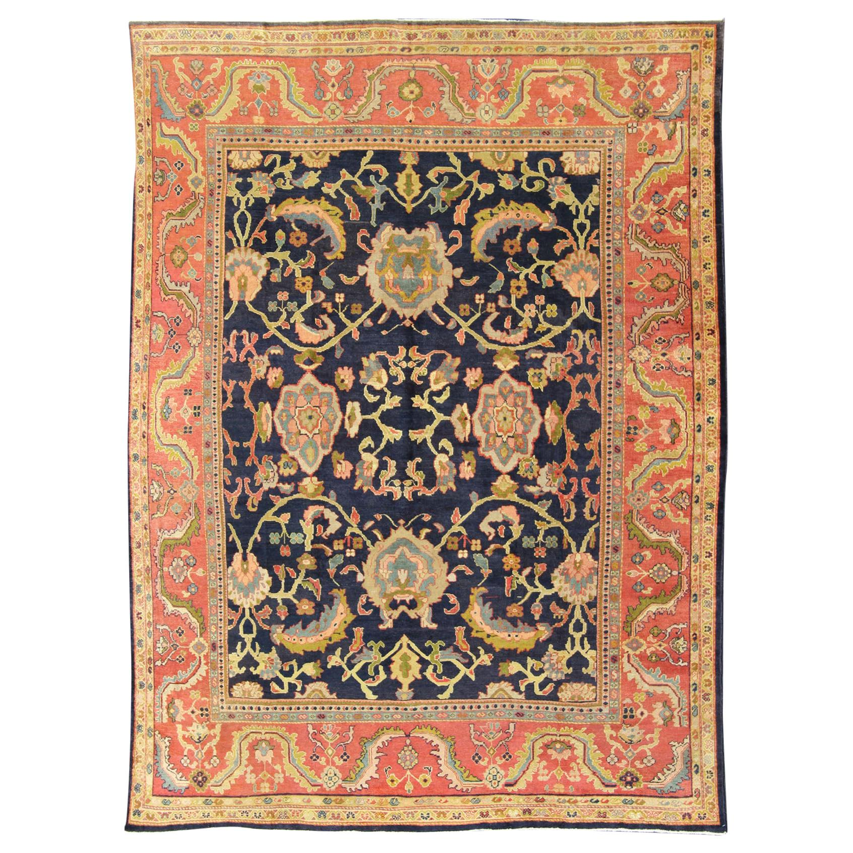 Amazing Antique Persian Sultanabad Carpet in Navy Blue Background and Rose Red