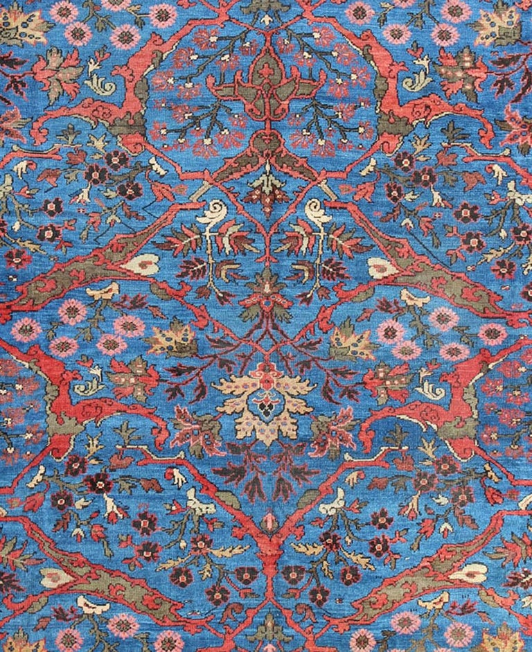 Amazing Antique Persian Sultanabad Rug in a Unique Persian Blue Background For Sale 4