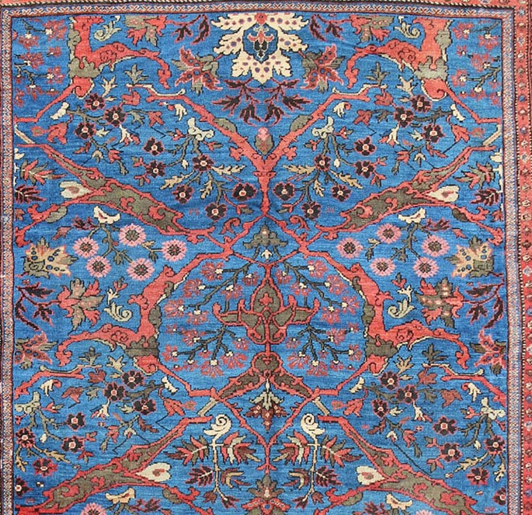 Amazing Antique Persian Sultanabad Rug in a Unique Persian Blue Background For Sale 5