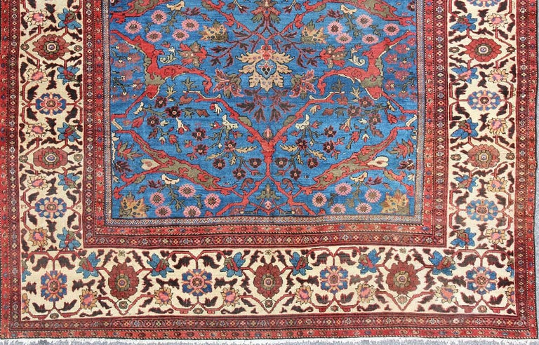 Amazing Antique Persian Sultanabad Rug in a Unique Persian Blue Background For Sale 3