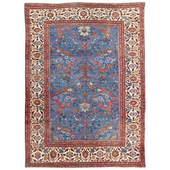 Amazing Antique Persian Sultanabad Rug in a Unique Persian Blue Background
