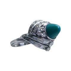 Amazing Antique Platinum Diamond and Turquoise Ring Engagement Ring
