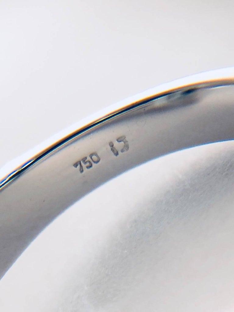 Aquamarine Diamond 18 Karat White Gold Ring For Sale 1