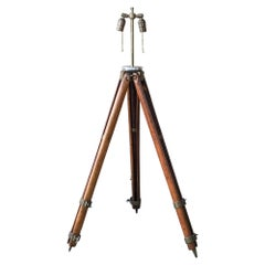 Architect Surveyor Tripod Floor LAMP in Oak & Brass Engineering Repurposed