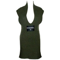 Amazing Chanel Army Green Cashmere Knit Huge CHANEL Logo Mini Dress