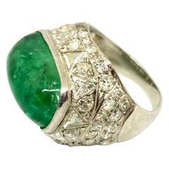 Art Deco Emerald Platinum White Diamond Cocktail Dome Ring