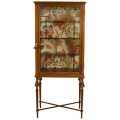 Amazing Art Deco Glass Vitrine Austria with Flower Fabric on the Back