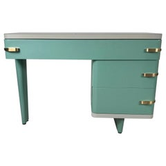 Amazing Art Deco Machine Age Metal Desk by Royal Metal Co. after Kem Weber