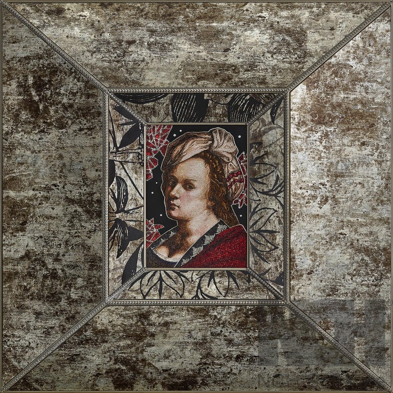 Modern Amazing Artemisia Gentileschi Micromosaic Canvas White Diamonds Jet Gold For Sale